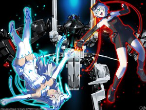 Rating: Safe Score: 8 Tags: 2girls black elbow_gloves gagraphic gloves green_eyes logo long_hair mecha purple_eyes shirayuki_shoushirou short_hair thighhighs watermark User: Oyashiro-sama