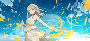 Rating: Safe Score: 118 Tags: aqua_eyes blonde_hair clouds dress flowers long_hair original petals rose sky summer_dress sutorora User: RyuZU