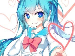 Rating: Safe Score: 108 Tags: aqua_hair bai_yemeng blue_eyes bow cropped hatsune_miku heart long_hair seifuku twintails vocaloid waifu2x User: luckyluna