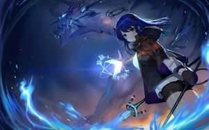 Rating: Safe Score: 74 Tags: arknights blue_hair blush gloves horns long_hair mostima_(arknights) night shorts sky stars sword tail telru weapon User: BattlequeenYume