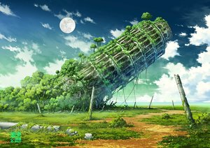 Rating: Safe Score: 100 Tags: building clouds grass jpeg_artifacts moon nobody original ruins scenic sky tokyogenso tree watermark User: RyuZU