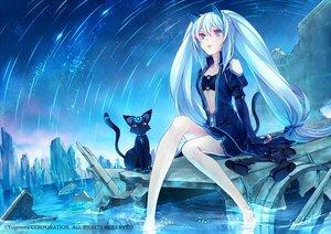 Rating: Safe Score: 177 Tags: animal animal_ears barefoot blue_eyes blue_hair cat catgirl kirishima_ray long_hair mikuni_(mikunik) night tail twintails water User: Flandre93