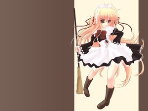 Rating: Safe Score: 15 Tags: alisa_bannings apron blonde_hair blush boots bow brown_eyes headdress long_hair mahou_shoujo_lyrical_nanoha maid ribbons User: Oyashiro-sama