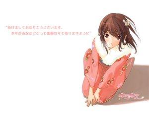 Rating: Safe Score: 21 Tags: brown_eyes brown_hair headdress hoshino_yuumi japanese_clothes kimikiss kimono logo short_hair takayama_kisai white User: Oyashiro-sama