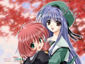 Rating: Safe Score: 9 Tags: 21 blue_hair brown_eyes futami_mio green_eyes ichinose_konoha long_hair pink_hair seifuku short_hair User: oranganeh
