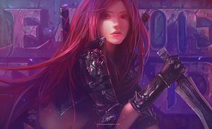 Rating: Safe Score: 464 Tags: armor bicolored_eyes chenbo katarina league_of_legends long_hair realistic red_hair scar signed sword watermark weapon User: FormX