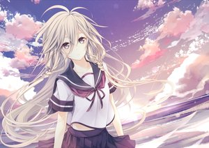 Rating: Safe Score: 101 Tags: braids clouds ia long_hair polychromatic seifuku shiro_mayu sky vocaloid User: luckyluna