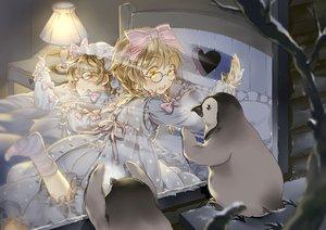 Rating: Safe Score: 28 Tags: animal bed glasses loli lolita_fashion original penguin ribbons snow starpri twins User: Flandre93