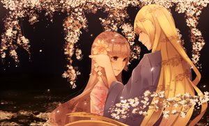 Rating: Safe Score: 53 Tags: blonde_hair blue_eyes brown_hair flowers japanese_clothes kimono long_hair orichie original tree User: STORM