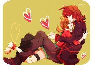 Rating: Safe Score: 30 Tags: brown_hair heart hug kotone_(pokemon) nicole_(usako) pokemon red_hair signed silver thighhighs User: STORM