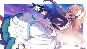 Rating: Safe Score: 32 Tags: alisia0812 animal_ears apron blue_eyes brown_hair dress eli_conifer flowers gloves headdress long_hair maid nijisanji petals ribbons User: RyuZU