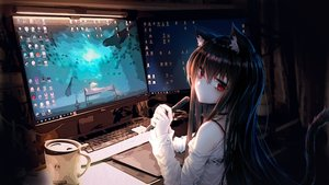 Rating: Safe Score: 99 Tags: animal_ears black_hair catgirl computer long_hair original photo red_eyes see_through tail xing User: Dreista