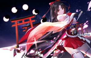 Rating: Safe Score: 55 Tags: black_hair japanese_clothes long_hair miko moon night original red_eyes sky stars sword tagme_(artist) thighhighs torii weapon zettai_ryouiki User: BattlequeenYume
