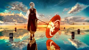Rating: Safe Score: 115 Tags: blonde_hair clouds headdress japanese_clothes kagamine_rin nine_(plantroom9) petals short_hair sky umbrella vocaloid water User: Flandre93