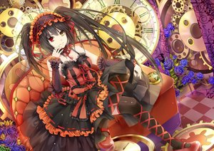 Rating: Safe Score: 52 Tags: aliasing bicolored_eyes black_hair breasts couch date_a_live dress flowers headdress hongmao long_hair ribbons thighhighs tokisaki_kurumi twintails User: RyuZU