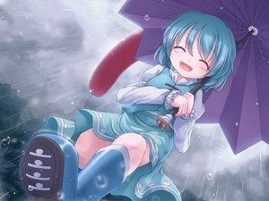Rating: Safe Score: 63 Tags: boots lzh rain tatara_kogasa touhou umbrella water User: FormX