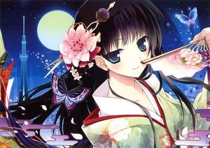 Rating: Safe Score: 192 Tags: black_hair blue_eyes butterfly fan flowers japanese_clothes karory kimono long_hair moon night petals scan User: FormX