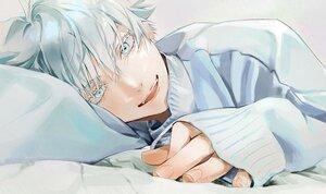 Rating: Safe Score: 5 Tags: all_male aqua_eyes bed close gojou_satoru jujutsu_kaisen male polychromatic rudecopper short_hair white_hair User: mattiasc02