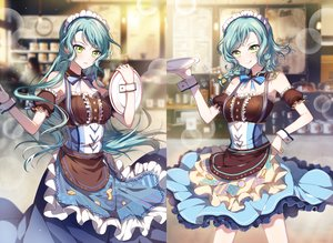 Rating: Safe Score: 85 Tags: 2girls apron aqua_hair bang_dream! bow braids collar dress green_eyes headdress hikawa_hina hikawa_sayo long_hair maid n_n_(vbdpsep) short_hair twins waitress wristwear User: otaku_emmy