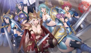 Rating: Safe Score: 28 Tags: armor boots breasts cleavage gloves navel suzume_inui sword thighhighs torn_clothes valkyrie_brunhilde valkyrie_dritte valkyrie_erda valkyrie_erste valkyrie_sigrun valkyrie_zweite weapon yu-gi-oh User: FormX
