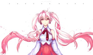 Rating: Safe Score: 104 Tags: crying hatsune_miku long_hair petals pink_eyes pink_hair sakura_miku tears tie twintails vocaloid white zit_0 User: FormX