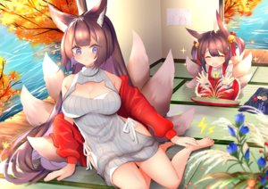 Rating: Safe Score: 56 Tags: 2girls akagi_(azur_lane) akagi-chan_(azur_lane) amagi_(azur_lane) animal_ears anthropomorphism autumn azur_lane barefoot bell blue_eyes breasts cleavage dress flowers foxgirl leaves loli long_hair multiple_tails ponytail putimaxi short_hair tail twintails water User: otaku_emmy