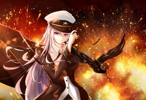 Rating: Safe Score: 94 Tags: animal anthropomorphism azur_lane bird enterprise_(azur_lane) fire hat long_hair military purple_eyes tagme_(artist) uniform white_hair User: BattlequeenYume