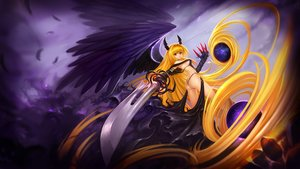 Rating: Safe Score: 217 Tags: ass blonde_hair breasts golden_darkness hanshu horns long_hair red_eyes sword to_love_ru to_love_ru_darkness weapon wings User: SciFi