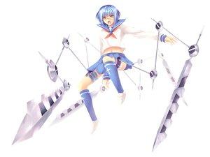 Rating: Safe Score: 7 Tags: blue_hair busou_renkin collar cross navel orange_eyes school_uniform short_hair skirt thighhighs tsumura_tokiko weapon white User: Oyashiro-sama