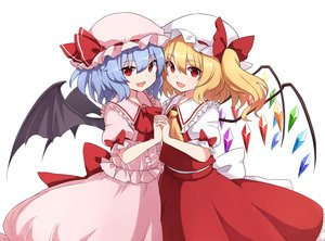 Rating: Safe Score: 36 Tags: 2girls blonde_hair blue_hair bow fang flandre_scarlet hat ponytail red_eyes remilia_scarlet rizento short_hair skirt touhou vampire User: otaku_emmy