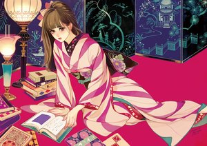 Rating: Safe Score: 33 Tags: book brown_eyes brown_hair japanese_clothes kimono long_hair matsuo_hiromi original signed User: FormX