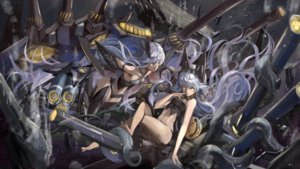 Rating: Safe Score: 37 Tags: 2girls azur_lane barefoot blue_hair long_hair siren_observer siren_tester thighhighs utarion yellow_eyes User: BattlequeenYume