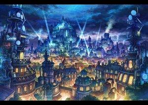 Rating: Safe Score: 50 Tags: building city clouds kemi_neko magic night nobody original signed sky stairs stars User: otaku_emmy