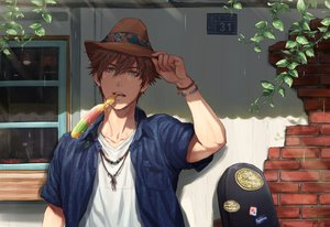 Rating: Safe Score: 19 Tags: all_male brown_hair candy close green_eyes hat instrument male necklace original rain shade short_hair water wristwear zawar379 User: otaku_emmy
