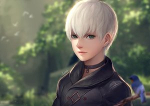 Rating: Safe Score: 53 Tags: all_male animal bird male nier nier:_automata realistic short_hair signed stellarism white_hair yorha_unit_no._9_type_s User: luckyluna