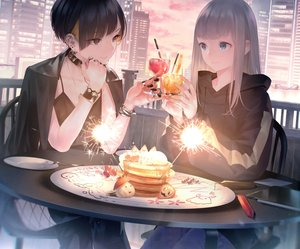 Rating: Safe Score: 83 Tags: 2girls aqua_eyes black_eyes black_hair boots building cherry choker city cropped drink fireworks food fruit gray_hair hoodie long_hair necklace orange_(fruit) original short_hair shoujo_ai sousou_(sousouworks) stockings strawberry sunset thighhighs wristwear User: otaku_emmy