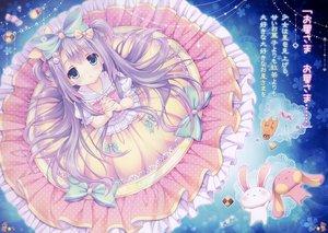 Rating: Safe Score: 81 Tags: animal aqua_eyes blush bow bunny candy dress loli lolita_fashion long_hair original purple_hair scan translation_request tsukishima_yuuko twintails User: Wiresetc