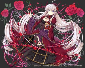 Rating: Safe Score: 60 Tags: bow breasts doll dress flowers gray_hair headdress kaku-san-sei_million_arthur lolita_fashion long_hair natsume_kintoki petals ribbons rose square_enix thighhighs User: RyuZU