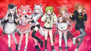 Rating: Safe Score: 51 Tags: animal_ears apron bicolored_eyes blue_eyes boots brown_hair candy cape cat_smile chocolate choker fang gloves gradient green_eyes green_hair hat hinokuma_ran hololive hoodie kagura_mea kagura_mea_channel long_hair navel nijisanji orange_eyes pantyhose pink_hair school_uniform shirakami_fubuki shorts skirt tagme_(character) tail twintails warabeda_meijii wolfgirl ymymssy zettai_ryouiki User: otaku_emmy