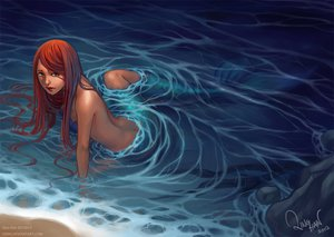 Rating: Safe Score: 168 Tags: long_hair mermaid orange_hair original qinni water watermark User: FormX