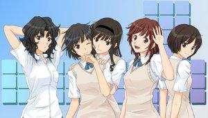 Rating: Safe Score: 93 Tags: amagami black_hair brown_hair gebo morishima_haruka nanasaki_ai sakurai_rihoko school_uniform tachibana_miya tanamachi_kaoru wink User: opai