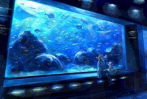 Rating: Safe Score: 92 Tags: animal blue brown_hair fish kneehighs nomiya_(no_38) original scenic seifuku short_hair skirt teddy_bear User: Flandre93