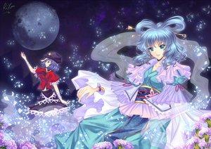 Rating: Safe Score: 42 Tags: 2girls blue_eyes blue_hair flowers halodark hat kaku_seiga miyako_yoshika moon night petals touhou User: grudzioh
