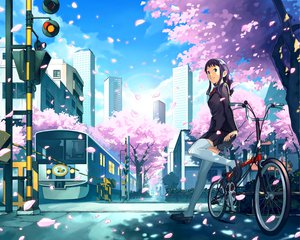 Rating: Safe Score: 54 Tags: bicycle blonde_hair blue_eyes cherry_blossoms flowers katou_akatsuki long_hair original school_uniform skirt thighhighs train zettai_ryouiki User: cadenza