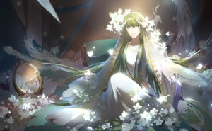 Rating: Safe Score: 63 Tags: all_male animal bird dress enkidu fate_(series) fate/strange_fake flowers green_eyes green_hair headdress long_hair male petals tebd_menkin User: RyuZU