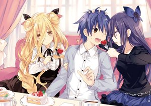 Rating: Safe Score: 246 Tags: braids date_a_live dress drink food fruit hoshimiya_mukuro itsuka_shidou male scan strawberry third-party_edit tsunako yatogami_tohka User: Dummy