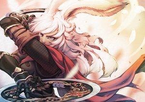 Rating: Safe Score: 37 Tags: animal_ears armor bunny_ears bunnygirl cape final_fantasy final_fantasy_xiv gray_eyes long_hair lyna_(ffxiv) mihira_(tainosugatayaki) viera weapon white_hair User: SciFi