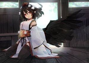 Rating: Safe Score: 51 Tags: dress futatsuki_eru hat japanese_clothes pointed_ears red_eyes ribbons shameimaru_aya short_hair touhou wings User: BattlequeenYume