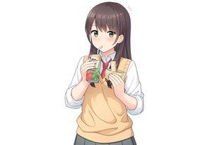 Rating: Safe Score: 23 Tags: blush brown_hair drink food green_eyes long_hair nakamura_sumikage original school_uniform shirt third-party_edit tie white User: otaku_emmy