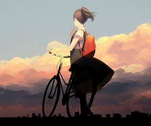 Rating: Safe Score: 90 Tags: bicycle black_hair building clouds cropped original short_hair silhouette skirt sousou_(sousouworks) User: mattiasc02